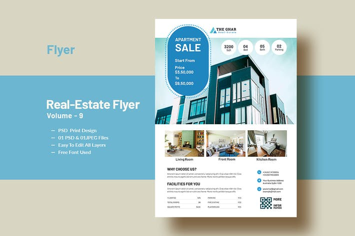 Thumbnail for Real-Estate (Apartment Sales) Flyer Template V-9