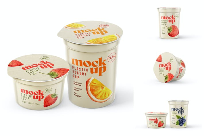 Joghurt-Cup-Mockup-Set   Verpackungsdesign