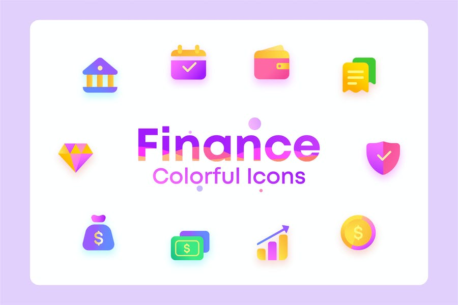Colorful Invest, Finance, bank, Illustration Icons