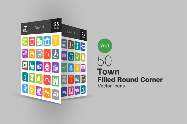 Thumbnail for 50 Town Filled Round Corner Icons