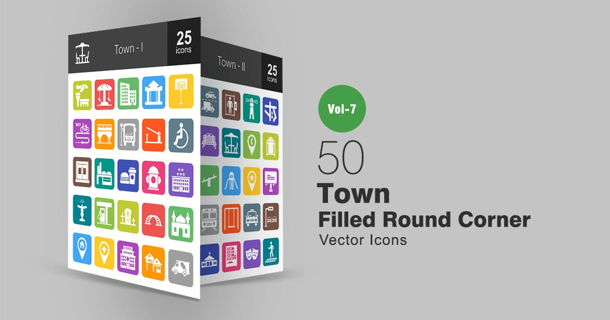 Download 50 Town Filled Round Corner Icons by IconBunny