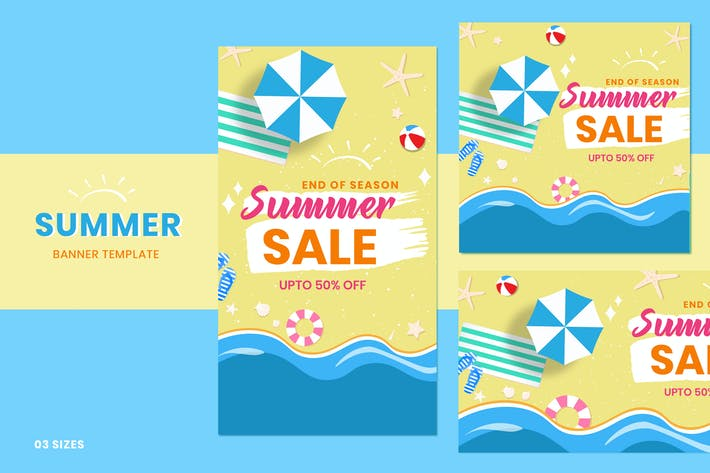 Cover Image For Summer Sale Social Media Post Templates