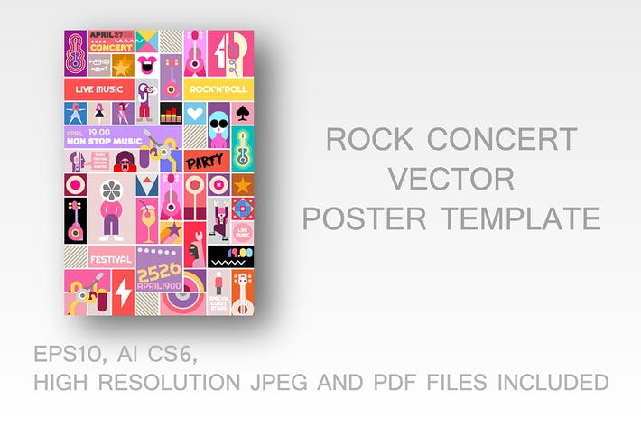 Thumbnail for Rock Concert Poster vector Template Design