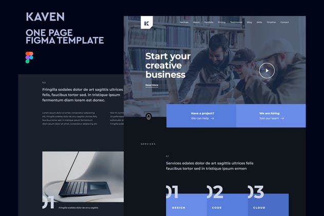 Kaven - One Page Figma Template