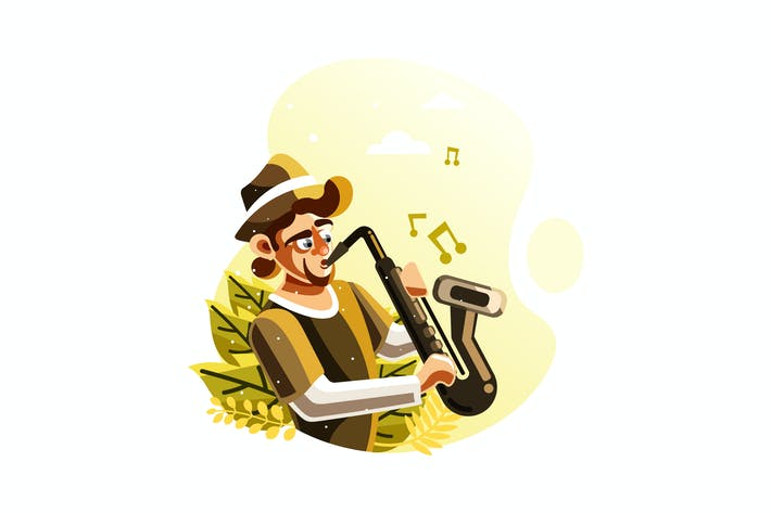 Cover Image For Man playing saxophone illustration
