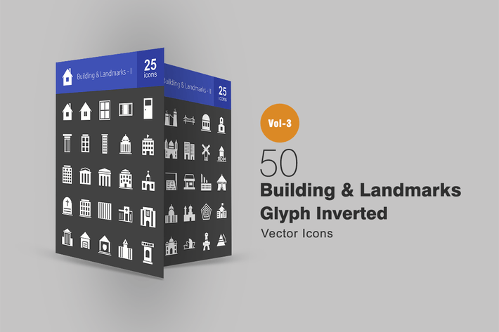 Thumbnail for 50 Buildings & Landmarks Glyph Inverted Icons