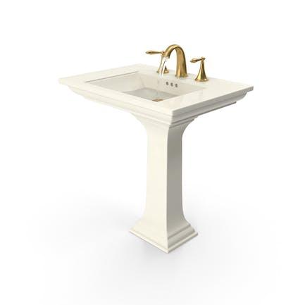 Classical Bathroom Sink Running Water