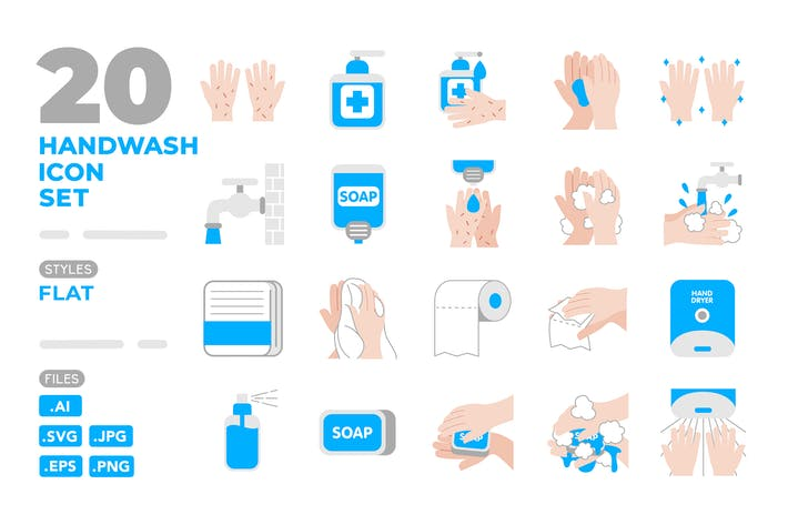 Thumbnail for Handwash Icon Set (Flat)
