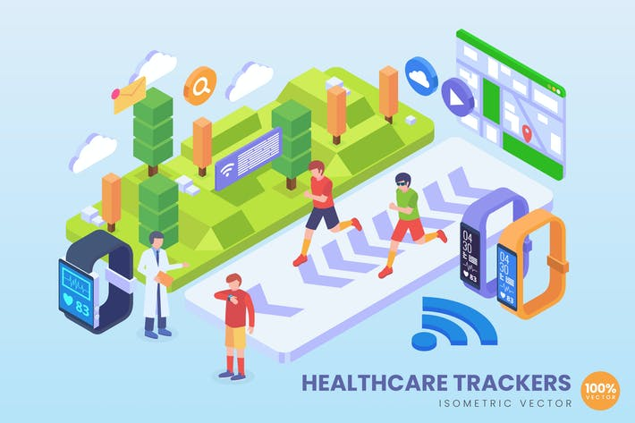Thumbnail for Isometric Healthcare Trackers Technology Vector