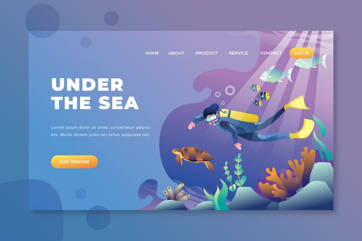 Thumbnail for Under The Sea - PSD and AI Vector Landing Page
