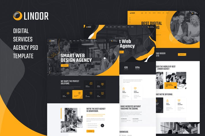 Thumbnail for Linoor - Digital Agency Services PSD Template