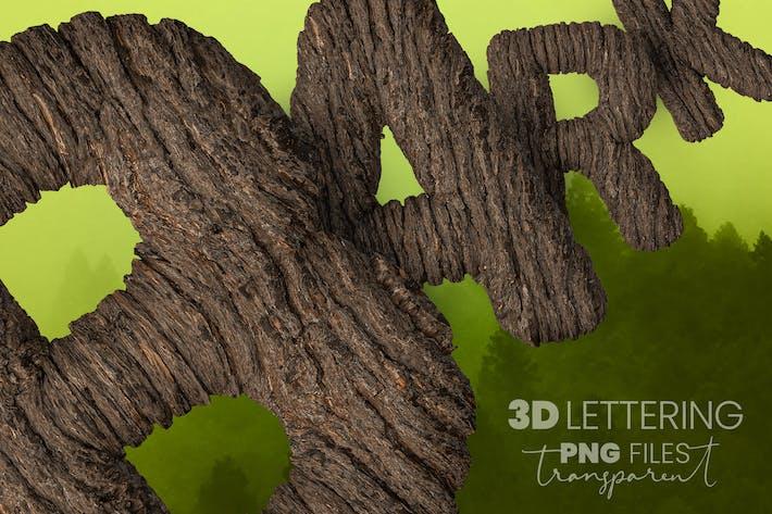 Thumbnail for Lettrage 3D en écorce