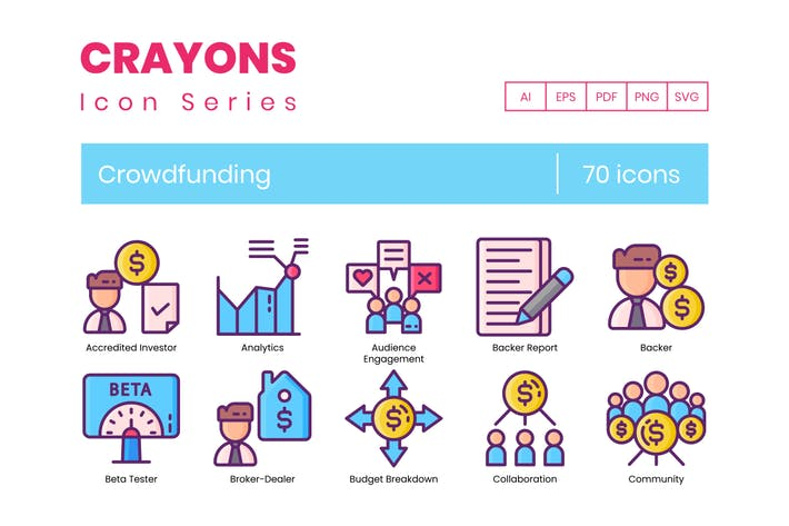 Thumbnail for 70 Icons für Crowdfunding-Linien