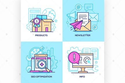 Marketing - set of line design style illustration