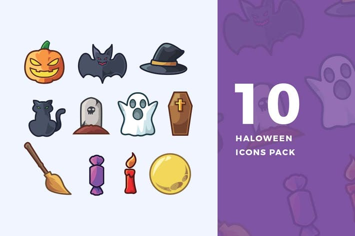 Thumbnail for 10 Halloween Icons Pack