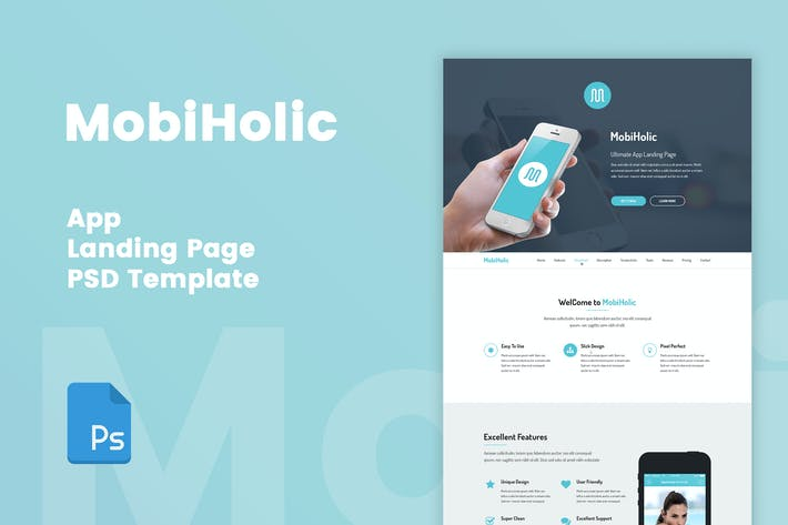 Thumbnail for MobiHolic - App Landing Page PSD Template