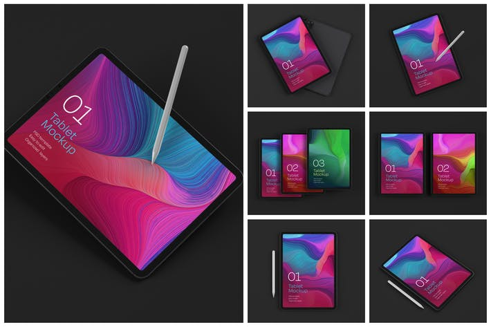 Cover Image For iPad Pro Mockup Set | Tablet Screen