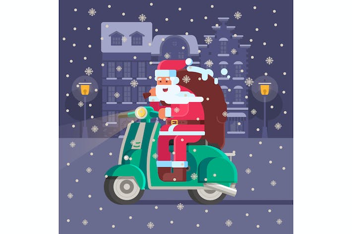 Thumbnail for Santa Delivering Gifts on Scooter