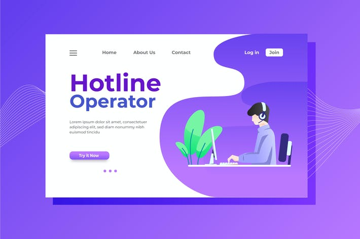 Thumbnail for Hotline Operator Landing Page Illustration