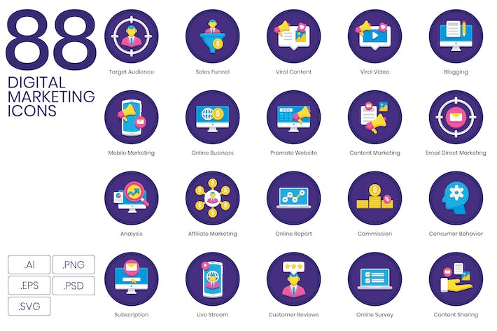 Thumbnail for 88 Digital Marketing Icons | Orchid Series
