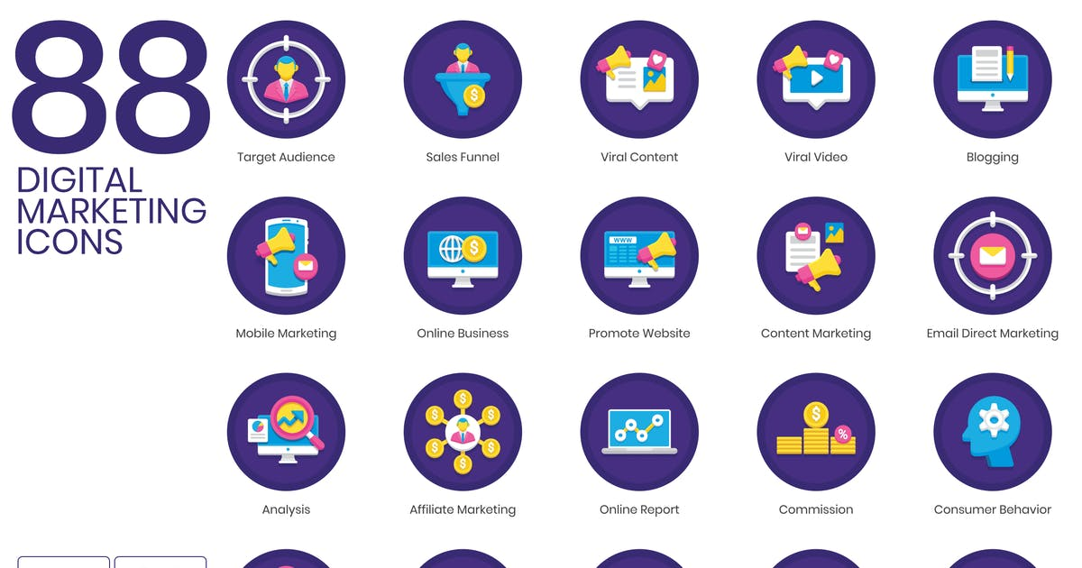Download 88 Digital Marketing Icons | Orchid Series by Krafted