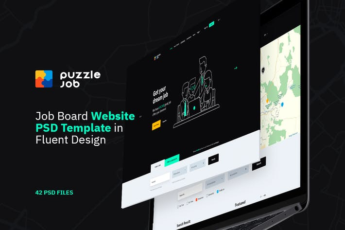 Cover Image For Puzzlejob - Job Portal Website PSD Template