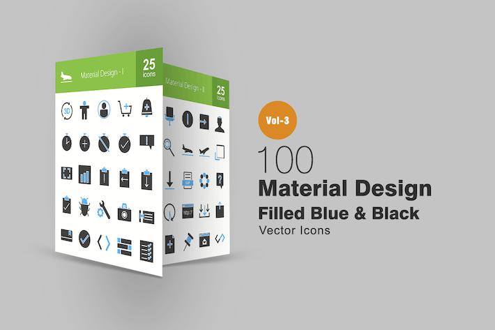 Thumbnail for 100 Material Design Blau & Schwarz Icons