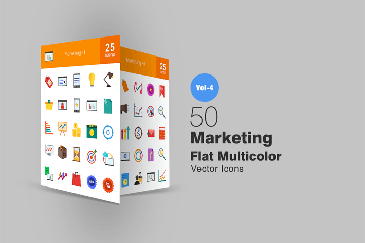 Thumbnail for 50 Marketing Flat Multicolor Icons