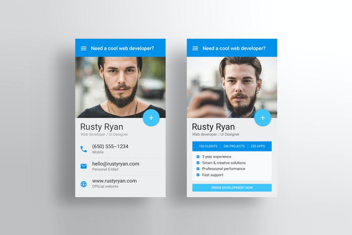 Thumbnail for Material Design Business Card PSD Template