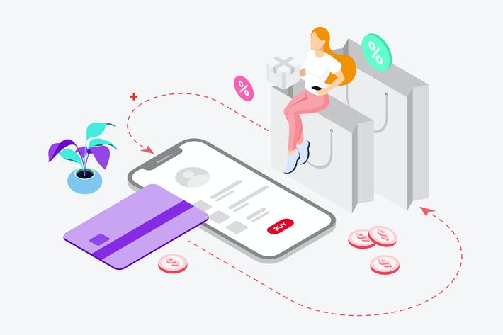 Thumbnail for Shopping Online by Digital Wallet Isometric