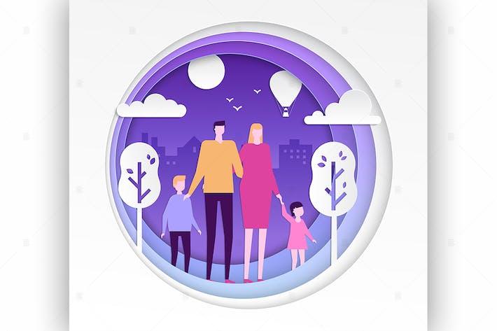 Thumbnail for Familie - moderne Vektor papier Schnitt Illustration