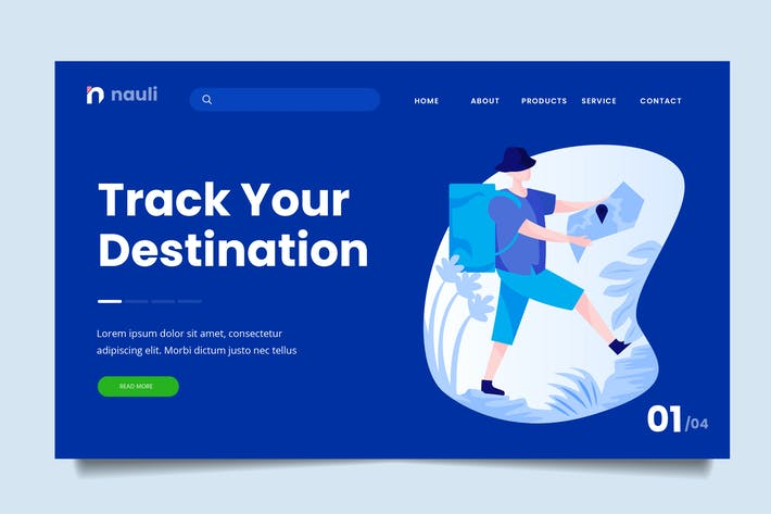 Thumbnail for Camping Tracking Web Header PSD und AI Vektor