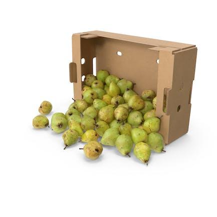 Peras derramadas con caja de cartón