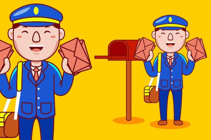 Postman Profession Cartoon Vector