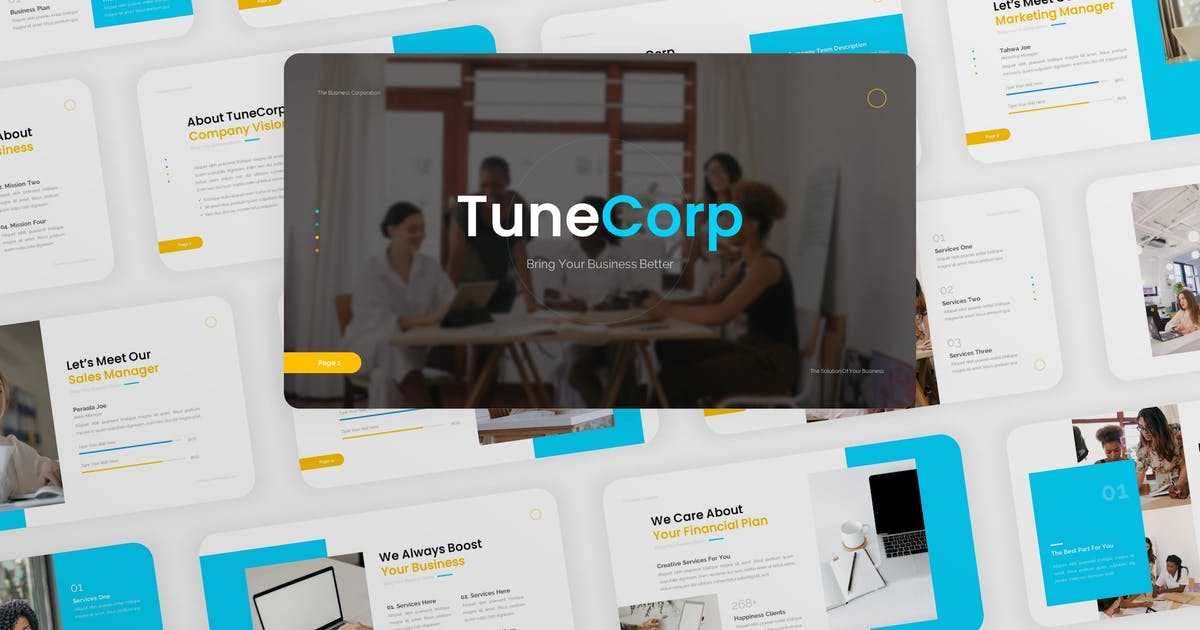 Download TuneCorp - Business Company Keynote Template by CocoTemplates