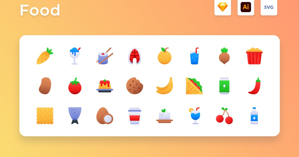 Download Food Gradient Icon Set by usedesignspace