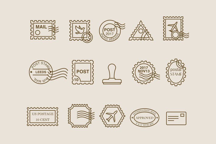 Thumbnail for 15 Postage Stamp Icons