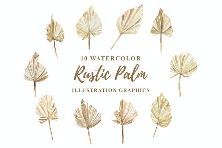 Thumbnail for 10 Watercolor Rustic Palm Illustration Graphics