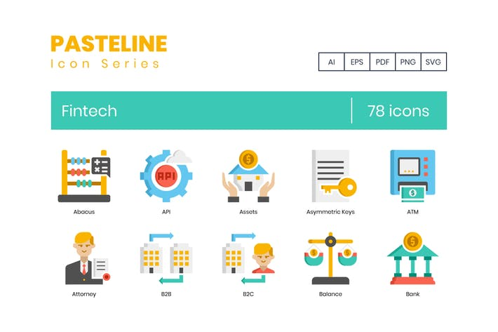 Thumbnail for 78 Fintech Icons | Pasteline Series