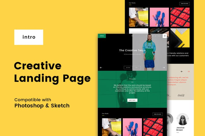 Cover Image For Intro Creative Landing Page (PSD + Sketch)