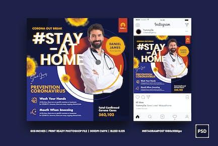 Coronavirus Medical Prevention Square Flyer