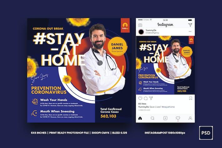 Thumbnail for Coronavirus Medical Prevention Square Flyer