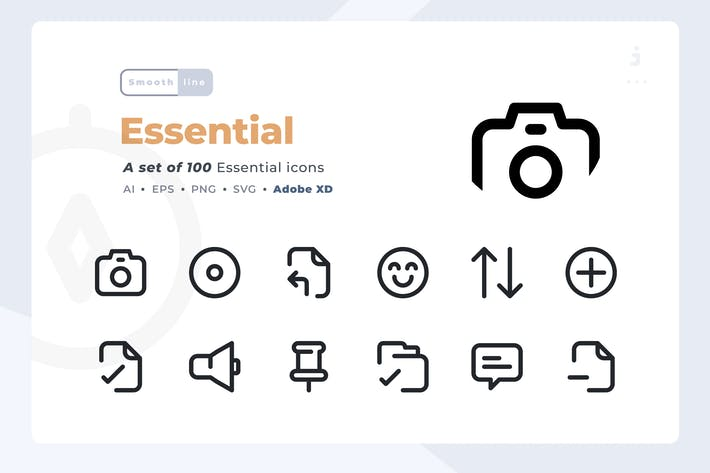Thumbnail for Smoothline - 100 Essential icon set