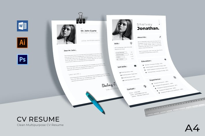 Thumbnail for Clean Minimal Resume Template Vol.01