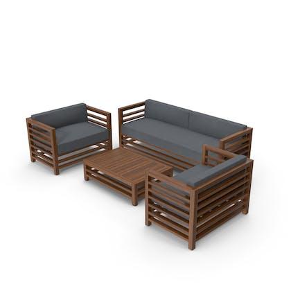 Set aus Holz für den Außenbereich, Sofas und Tische