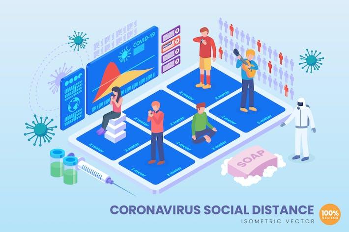Thumbnail for Isometrischer Coronavirus sozialer DistanzVektor