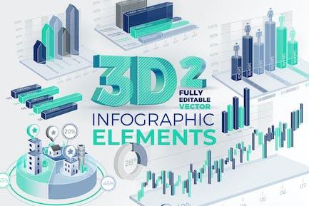 3D Unternehmens- Infografik Elemente 2