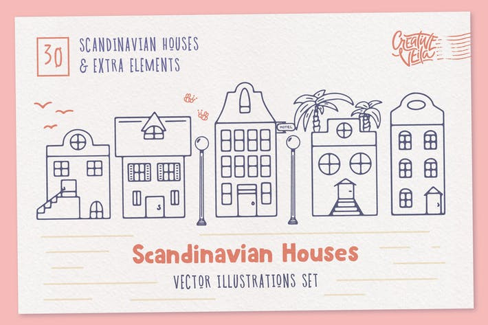 Thumbnail for Scandinavian Houses Vector Images