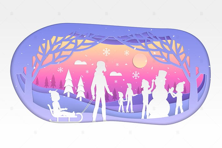 Thumbnail for Winter holiday - modern paper cut illustration