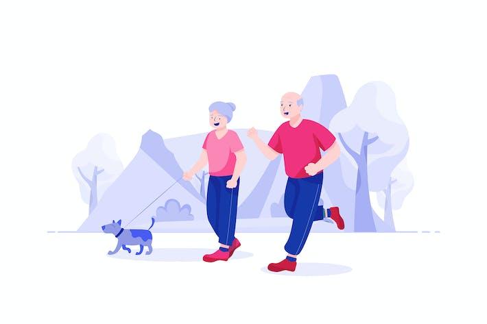 Senior Life Insurance Vector Illustration concept